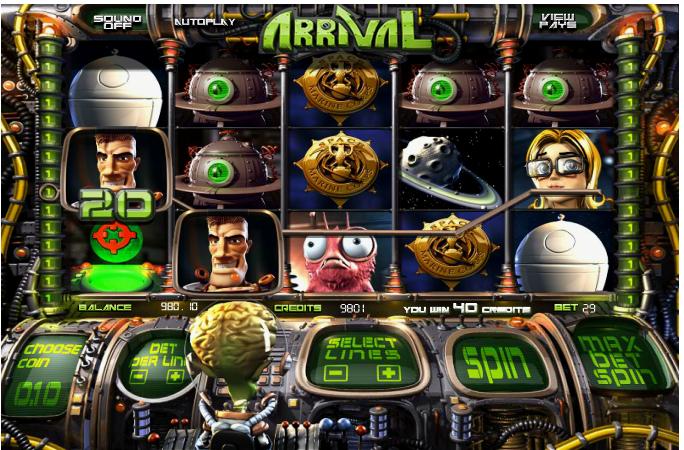 Arrival grafički interfejs slot igre
