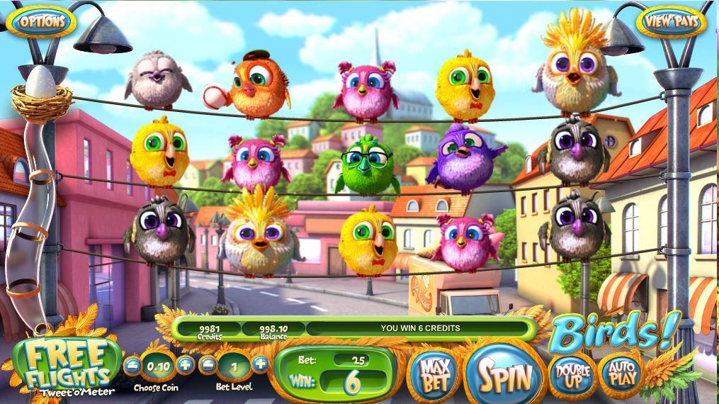 Birds grafički interfejs igre koju je razvio Betsoft