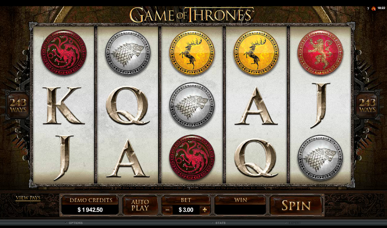 Game of Thrones - grafički interfejs slot igre