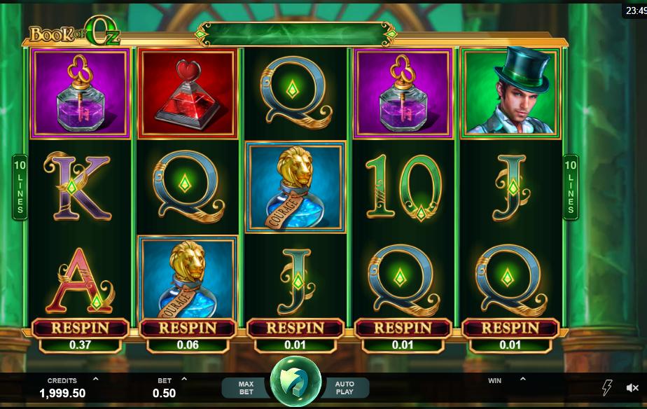Book of Oz - grafički interfejs video slota