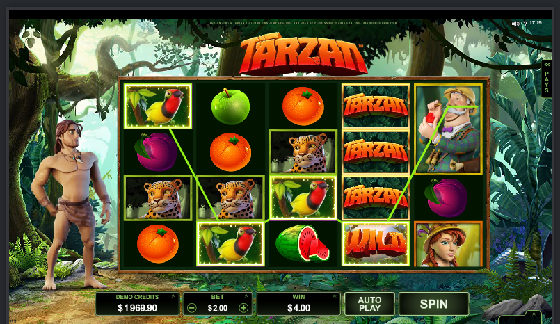Tarzan grafički interfejs slot igre
