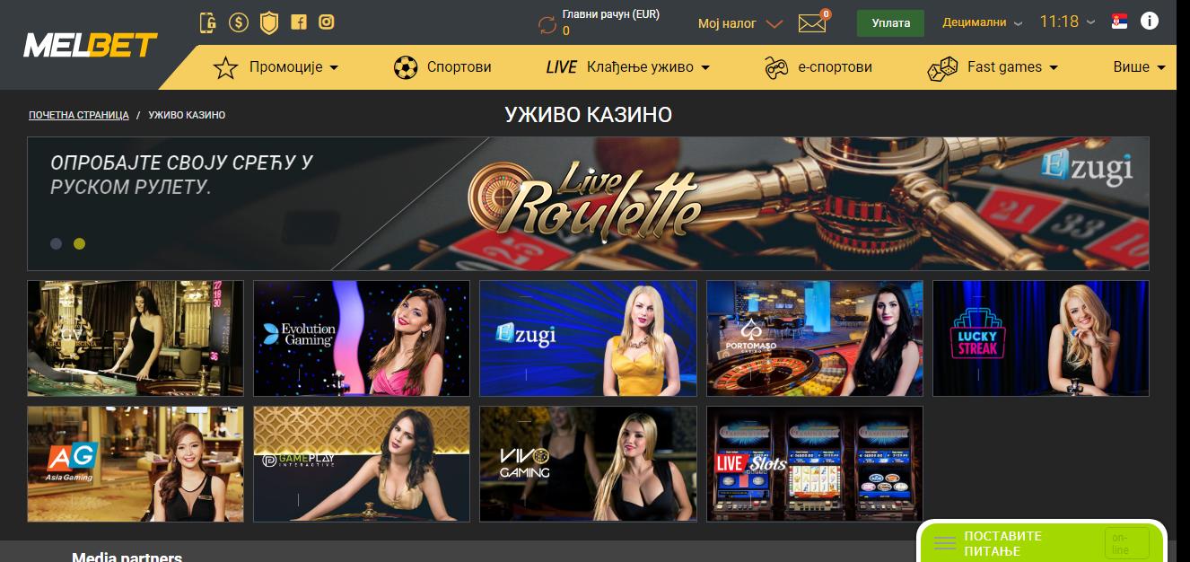 Melbet kazino uživo