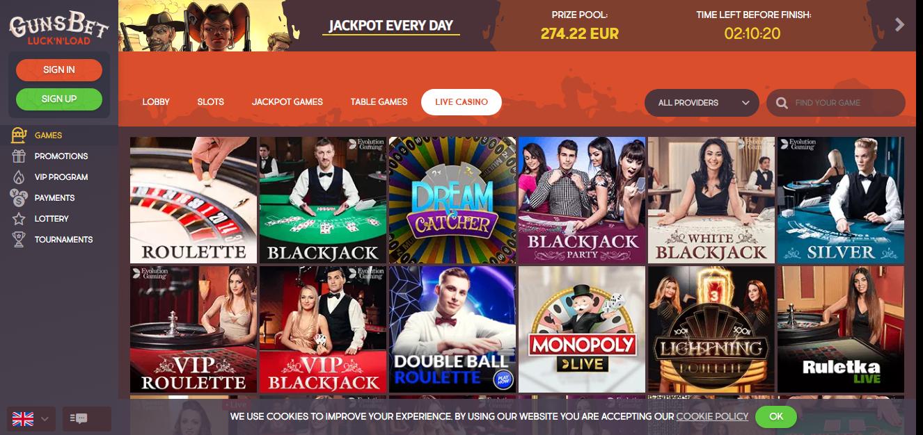 Gunsbet kazino uživo