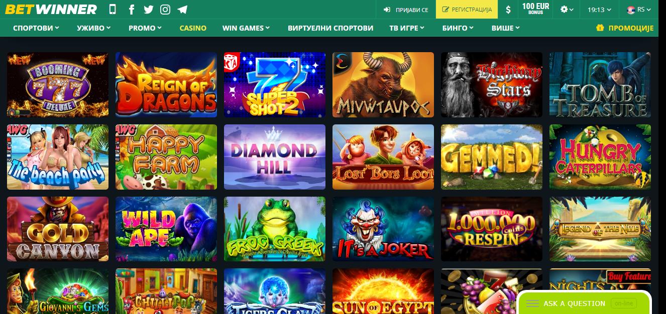 Betwinner kazino slot igre